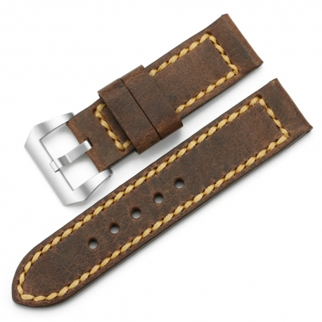 Cow Vintage Leather Strap 100% Genuine Brown 24mm