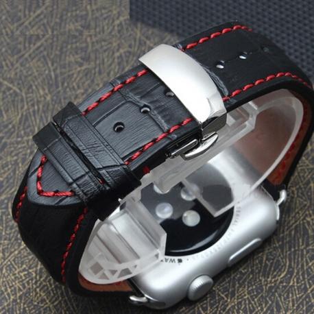 Bracelet Apple Watch iWatch cuir 100% véritable 42mm Carrera papillon