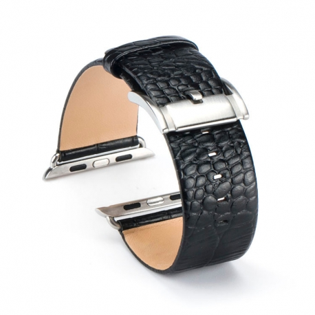 Apple Watch Leather Strap 100% Genuine Croco 42mm Black