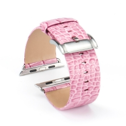 Bracelet Apple Watch cuir 100% véritable 42mm Croco Rose
