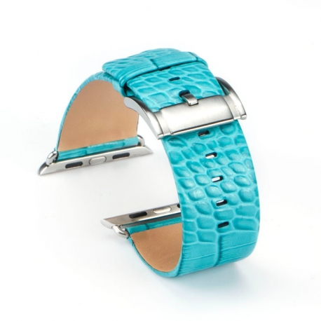 Apple Watch Leather Strap 100% Genuine Croc 42mm Turquoise