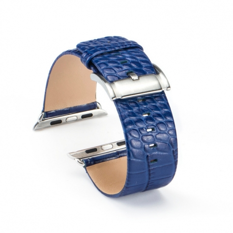 Bracelet Apple Watch Croco cuir 100% véritable 42mm Bleue