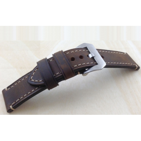 Leather Strap 100% Genuine Stany 20mm 22mm 24mm 26mm Dark Brown