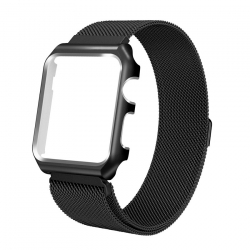 Apple Watch Mesh Stainless Steel Band 42mm with Case and Screen Protector Black