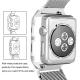 Milanaise Apple Watch Acier Inox 38mm avec Boitier Protection Noir