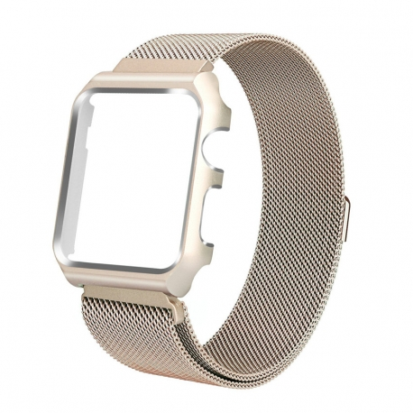 Milanaise Apple Watch Acier Inox 38mm avec Boitier Protection Plaqué Or