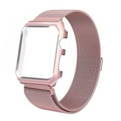 Milanaise Apple Watch Acier Inox 38mm avec Boitier Protection Plaqué Or Rose
