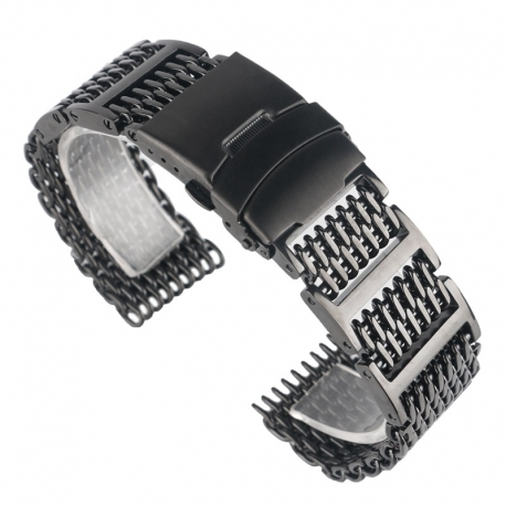 Shark Mesh with links 20mm Stainless Steel Bracelet Black