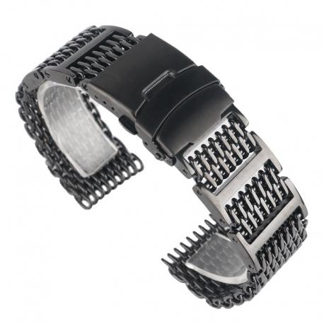 Milanaise Reglable Bracelet Maille Shark Mesh 22mm Noir