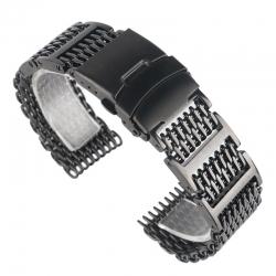 Milanaise Reglable Bracelet Maille Shark Mesh 24mm Noir