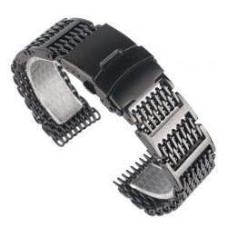 Milanesas Shark Mesh Ajustable Acero Inoxidable 24mm Negra
