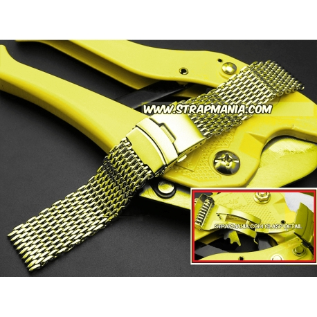 Milanesa Shark Mesh Oro Acero Inoxidable 18mm Vip
