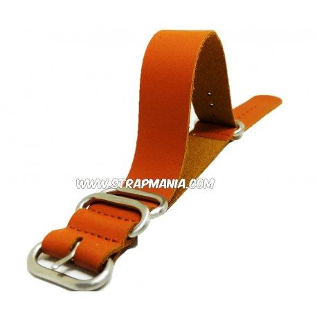 Nato Style Leather Strap 100% Genuine 24mm Brown