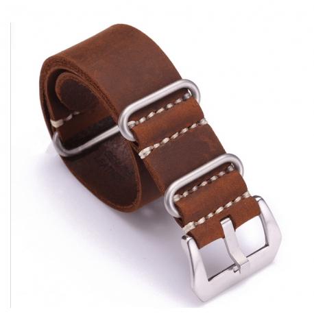 Bracelet montre Vintax 100% cuir Véritable Style Nato 22mm Marron Foncé
