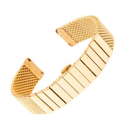 Shark Mesh Gold Plated 20mm Stainless Steel Bracelet Linked