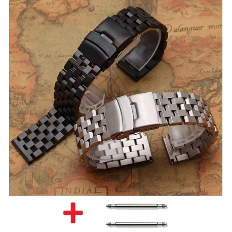 Bracelet Montres Acier Inox Wadoo 22mm Noir
