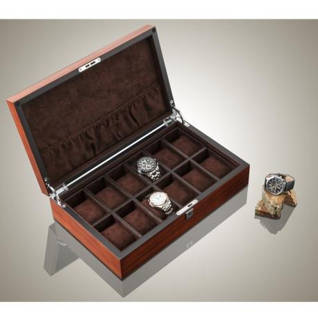 High Quailty Watch Box 12 Slots Zebra Wood Habana