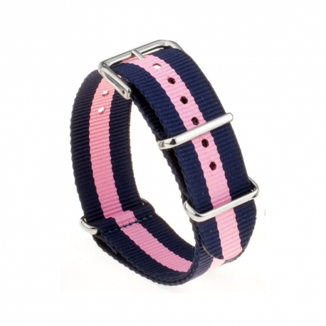 Bracelet montre Nylon Nek Nato Bleue Rose