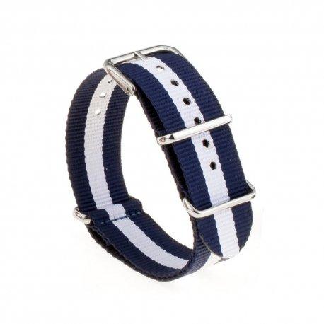 Correa Reloj Nek NATO Azul Blanco