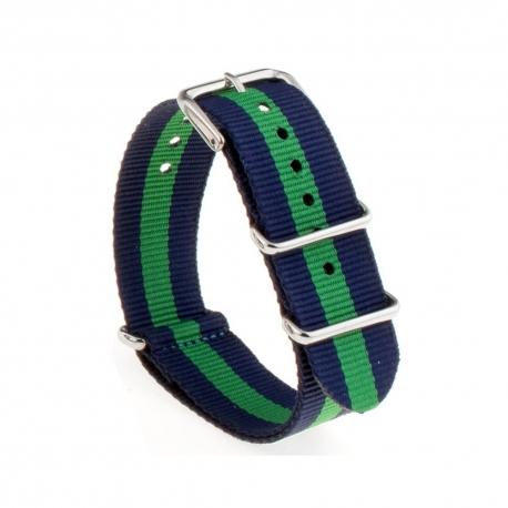 Bracelet montre Nylon Nek Nato Bleue Vert