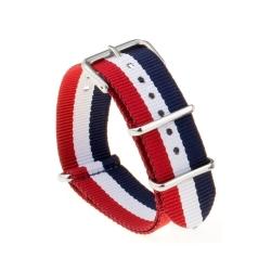 Bracelet montre Nylon Nek Nato Bleue Blanc Rouge