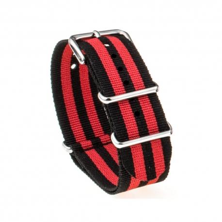 Bracelet montre Nylon Nek Nato Noir Rouge