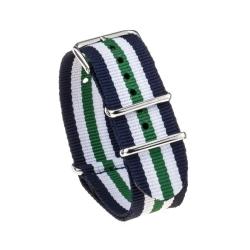 Bracelet montre Nylon Nek Nato Bleue Blanc Vert