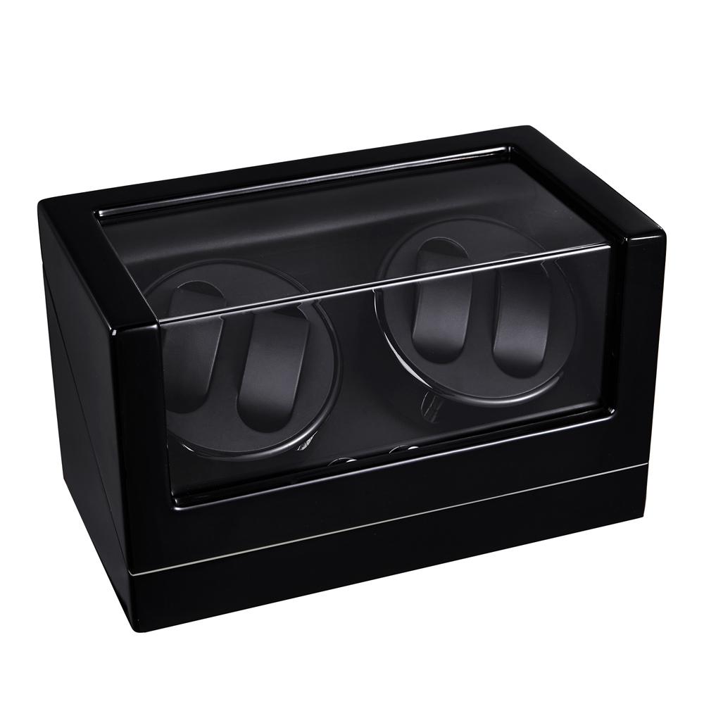 Caja Rotación 4 Relojes Silenciosa Deluxe Negro.