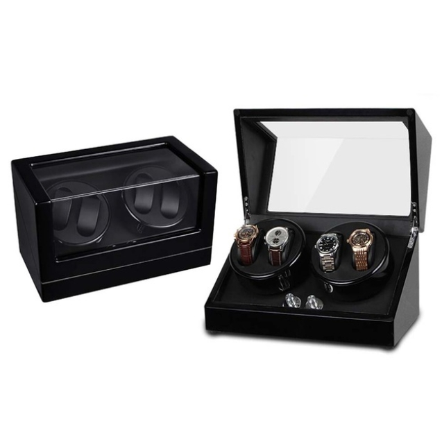 Self Winder box 4 Watches Silent Deluxe Black.