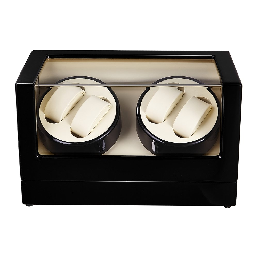 Self Winder box 4 Watches Silent Deluxe Black Beige.