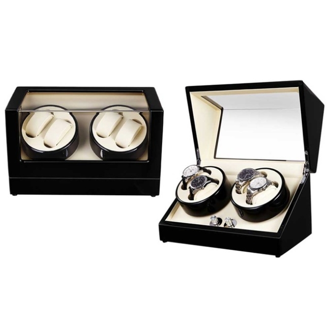 Self Winder box 4 Watches Silent Deluxe Black Beige.