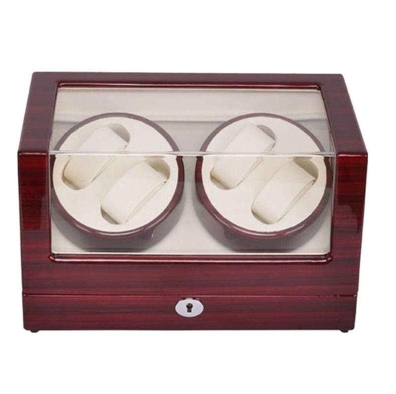 Caja Rotación 4 Relojes Silenciosa Deluxe Marron Beige.