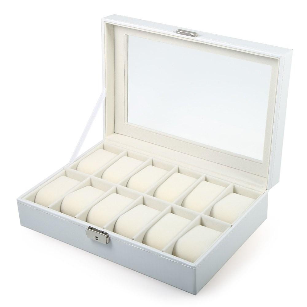 Caja 12 Relojes Cuero Stain Blanca.