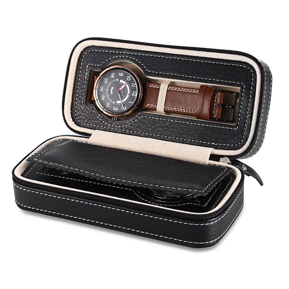 Watches Travel Case 2 Slots leather Zweiler Black.