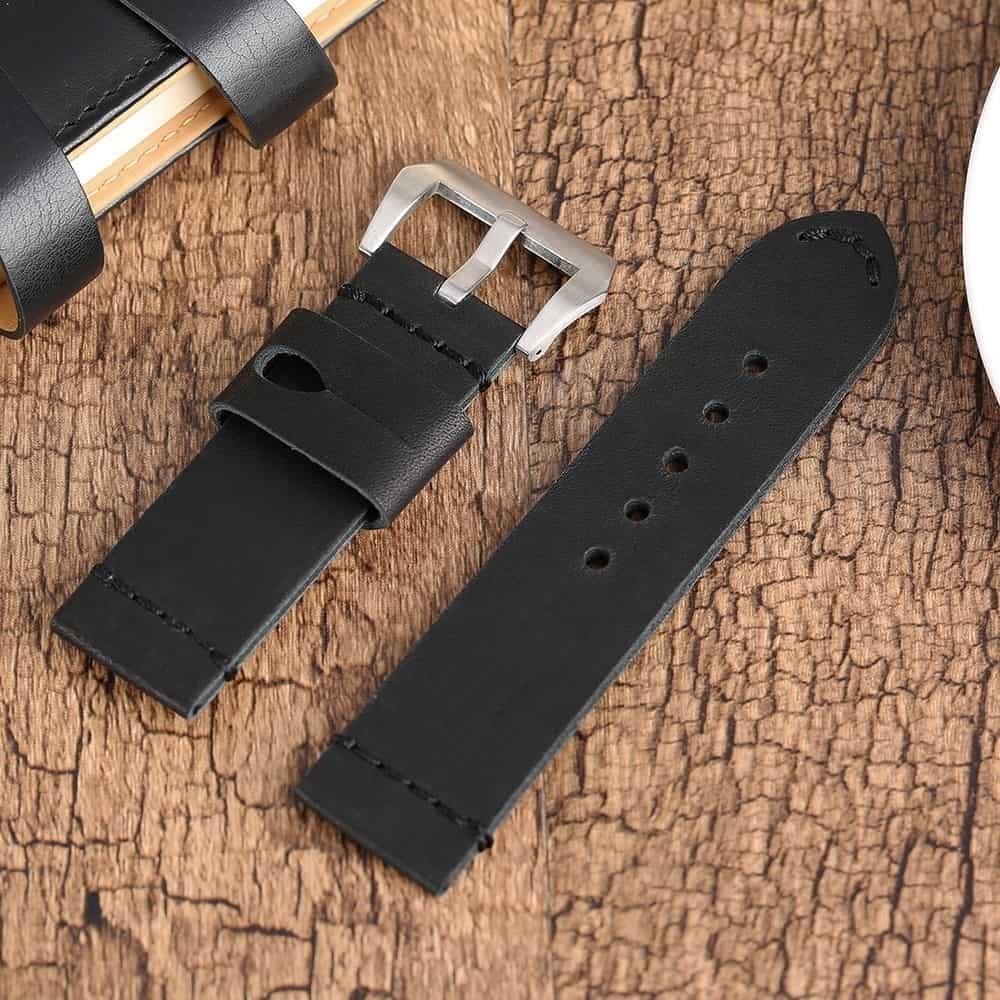 Bracelet montre 100% cuir Véritable MAX Noir 22mm 24mm 26mmm.