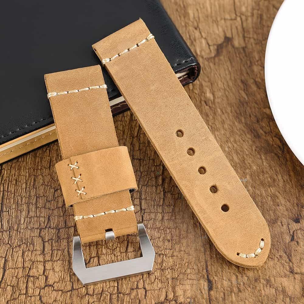Leather Strap 100% Genuine Vintage MAX Brown 22mm 24mm 26mm.
