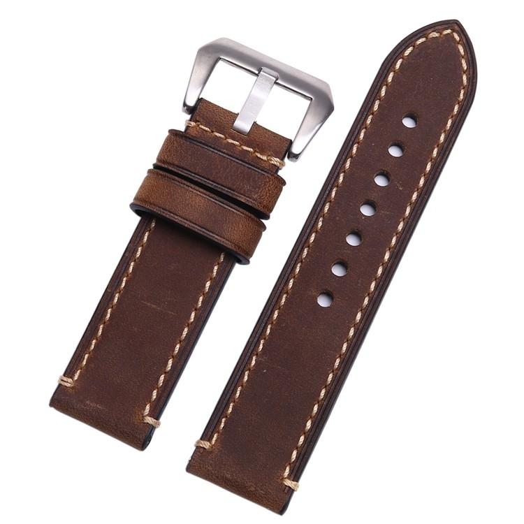 Correa Cuero 100% Genuin marron oscuro o Vintage Swen 22mm 24mm 26mm.
