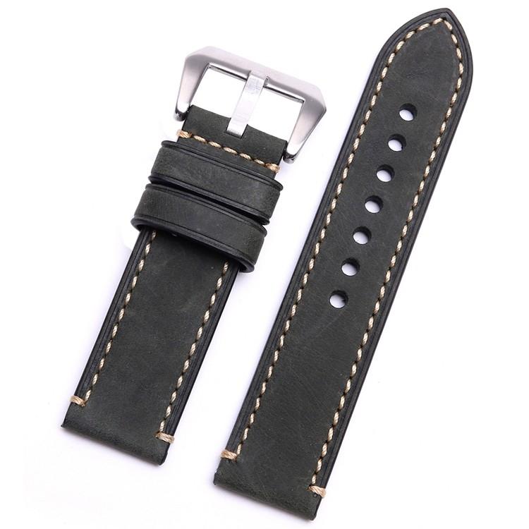 Correa Cuero 100% Genuino negro Vintage Swen 22mm 24mm 26mm.
