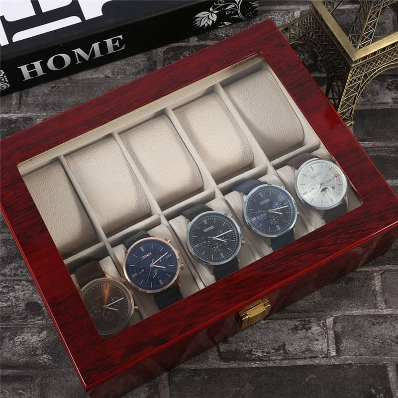 High Quality Watch Box 10 Slots Piano Wood Zweiler.
