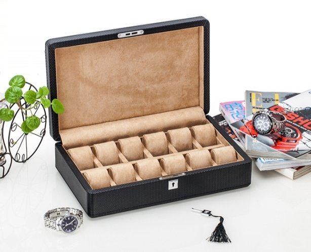 Caja 12 Relojes Fibra Carbono Zweiler Habana.