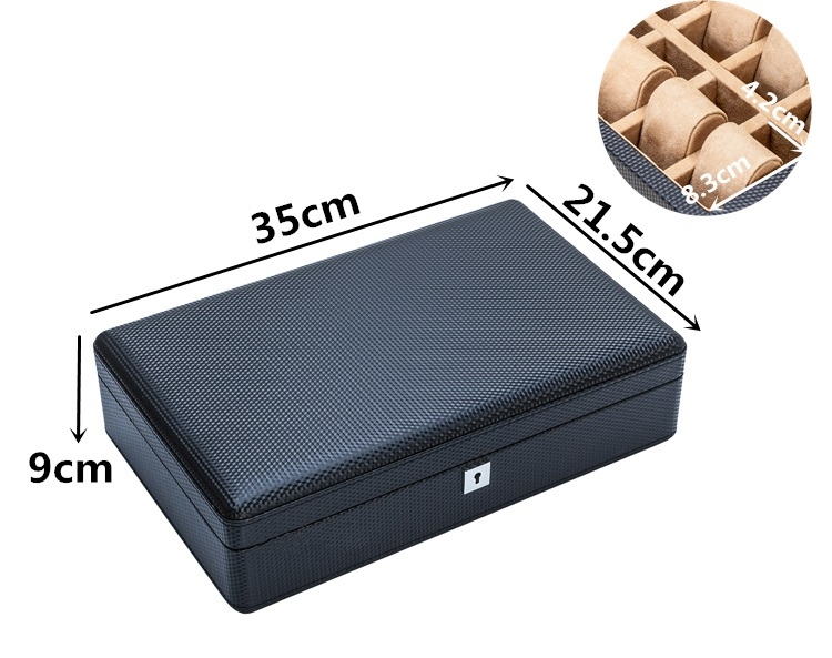 High Quality Watch Box 12 Slots Carbon Fiber Zweiler Habana.