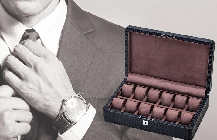 High Quality Watch Box 12 Slots Carbon Fiber Zweiler Habana.