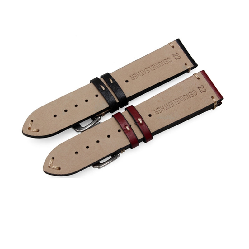 Leather Strap 100% Genuine Cow 20mm 22mm 24mm.