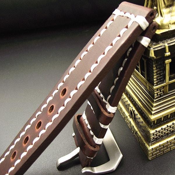 Correa Cuero 100% Genuino Craft Marron 18mm 20mm 22mm 24mm.