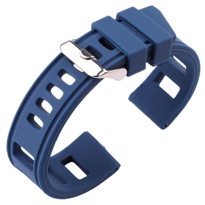 Perforated Silicone Strap Blue 20mm or 22mm Vintage.