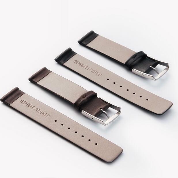 Bracelet montre cuir Véritable 18mm 20mm 22mm Noir