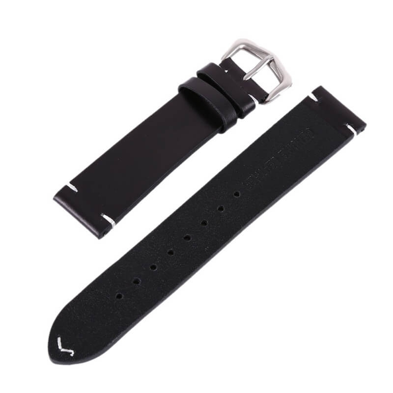 Genuine Leather Strap 18mm 20mm 22mm Black