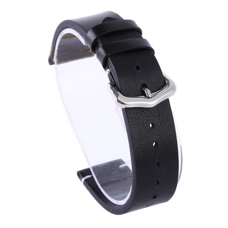 Correa piel 100% Genuino Reloj Exius 18mm 20mm 22mm Negra