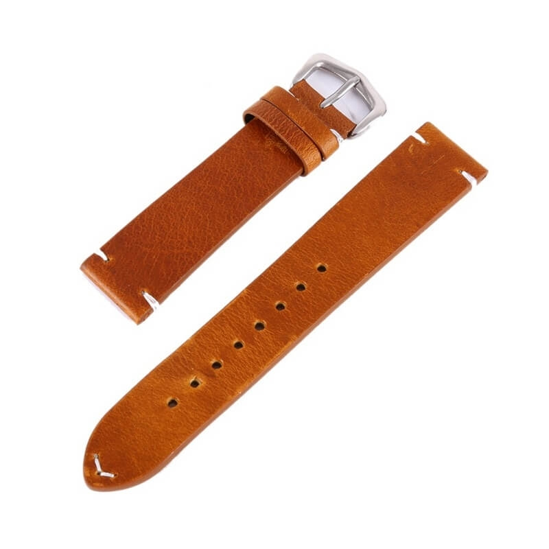 Genuine Leather Strap 18mm 20mm 22mm Light Brown