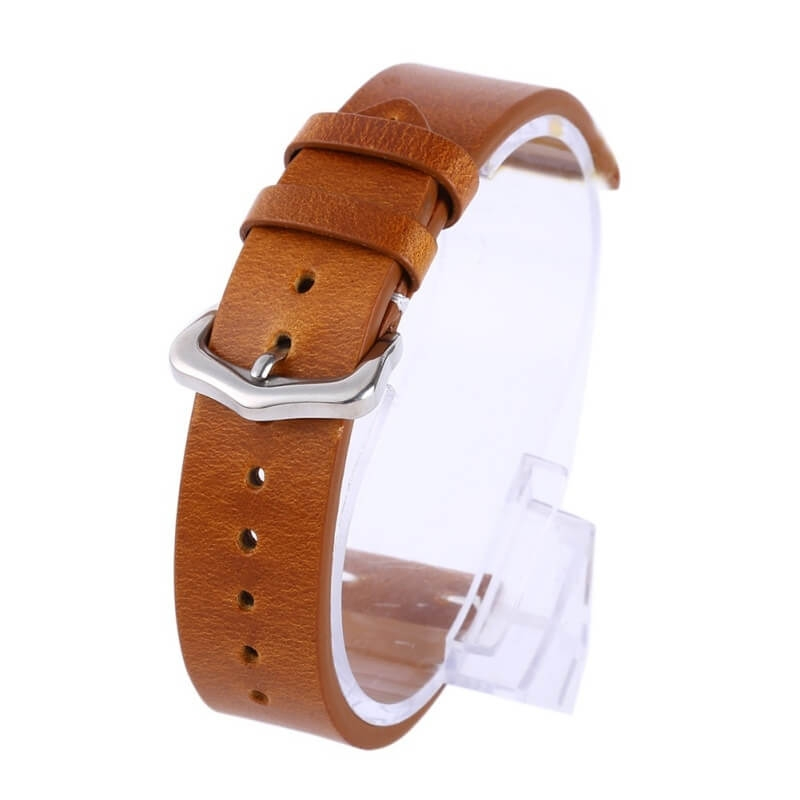 Leather Strap Exius 18mm 20mm 22mm Light Brown